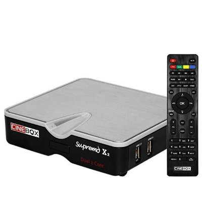 Receptor FTA Cinebox Supremo x2 Wi-Fi + LAN - Preto/Prata
