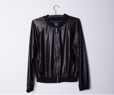 BLACK SHINE BOMBER JACKET