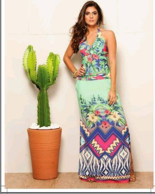 Vestido Longo Estampa Floral