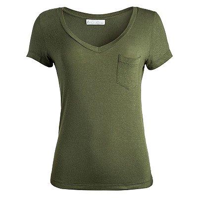 T-Shirt Oliva Linho Bolso