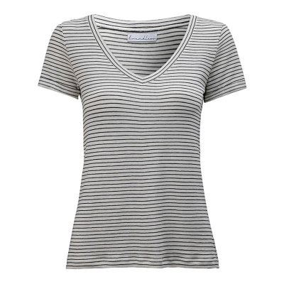 T-Shirt Gola V Listras Linho Preto & Off White