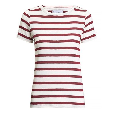 T-Shirt Gola C Listras Linho Off White & Rubi