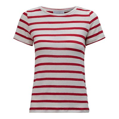 T-Shirt Gola C Listras Linho Off White & Red