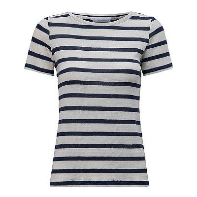 T-Shirt Gola C Listras Linho Off White & Blue