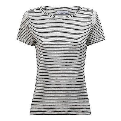 T-Shirt Gola C Listras Linho Preto & Off White
