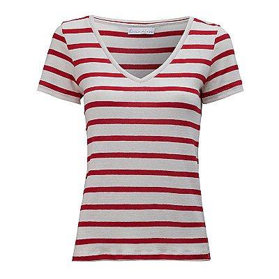 T-Shirt Gola V Listras Linho Off White & Red