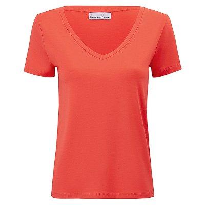 T-Shirt Modal Gola V Coral