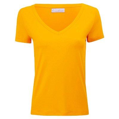 T-Shirt Modal Gola V Amarelo Solar