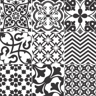 """Adesivo Azulejo """"Preto e Branco"""""""