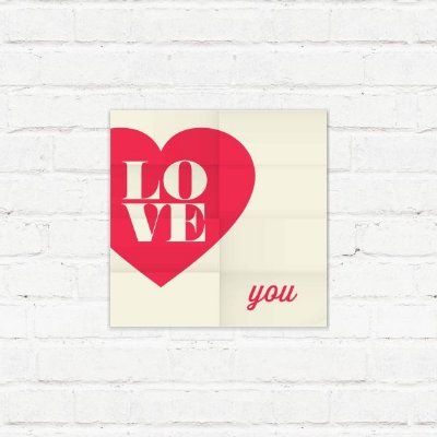 "Placa Decorativa ""Love You"""