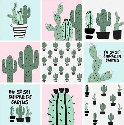 "Adesivo Azulejo ""Cactus Color"""