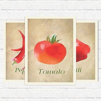"Placas Decorativas ""Legumes"""