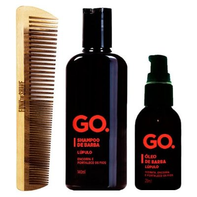 Kit Pente Double Funk The Shave + Shampoo e Óleo de Barba Lúpulo Go.