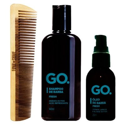 Kit Pente Double Funk The Shave + Shampoo e Óleo de Barba Fresh Go.