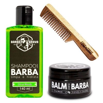 Kit Pente Small Funk The Shave + Shampoo e Balm para Barba Citrus Woods Barba Brava