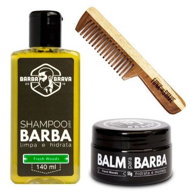 Kit Pente Small Funk The Shave + Shampoo e Balm para Barba Fresh Woods Barba Brava