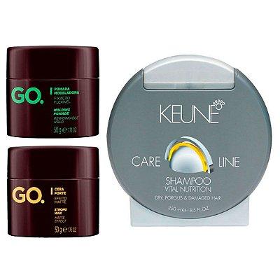 Kit Shampoo p/ Cabelos Secos com Cera e Pomada Modeladora - Los Barbudos