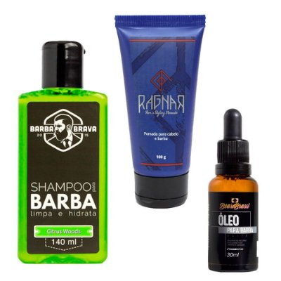Kit p/ Barba e Cabelo Mini Citrus - Los Barbudos