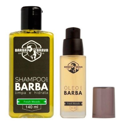Kit Shampoo + Óleo para Barba Fresh Woods - Barba Brava