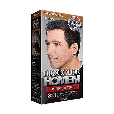 Tonalizante Cobertura Total Castanho Claro 30ml - Biocolor Homem