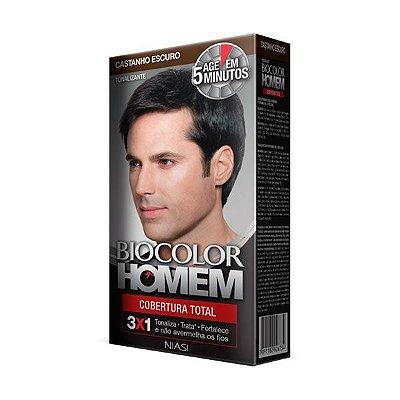 Tonalizante Cobertura Total Castanho Escuro 30ml - Biocolor Homem