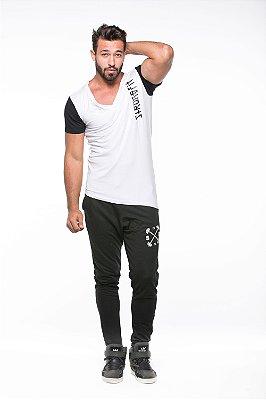 T-SHIRT SLIM DIVISE VERT BRANCO