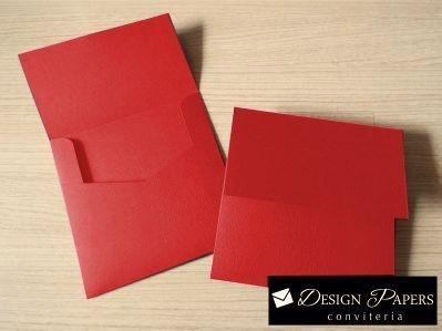Envelope Vermelho Liso 120g - Aba Reta 15,5x15,5cm - 25 unidades