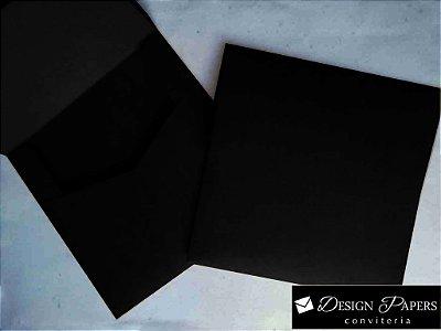 Envelope Quadrado Preto 120g - Aba Reta 20x20cm - 25 unidades