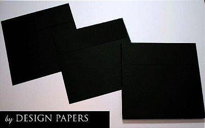 Envelope Preto 120g - Aba Reta 15,5x15,5cm - 30 unidades