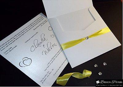 Convite Quadrado Branco - Aba Reta 20x20cm - 10 unidades