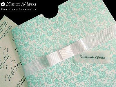 Envelope Arabesco Tifany Perolado 180g - Luva 21,5x21,5cm - 10 unidades
