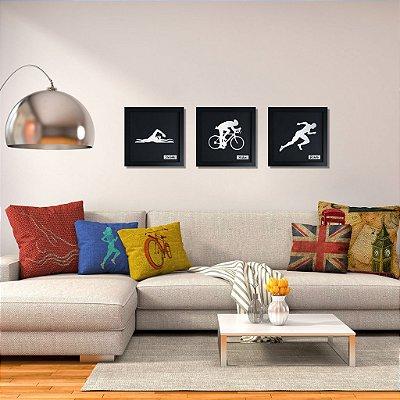 Quadro Decorativo de Triatlo Masculino Personalizado (3 quadros)