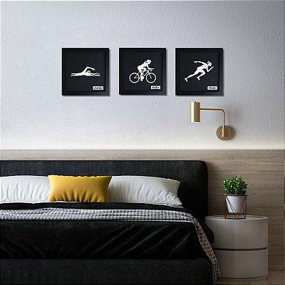 Quadro Decorativo de Triatlo Feminino Personalizado (3 quadros)