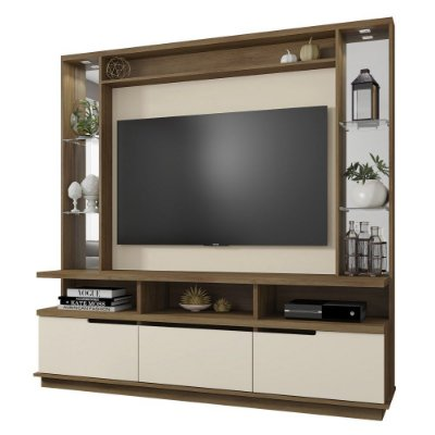 Rack Com Painel Home Para Tv Até 46 Polegadas 182 x 180 cm Com Led Cor Freijó Off White