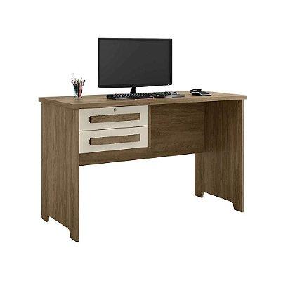 mesa de estudo escrivaninha pequena largura 114 cm com chave e 2 gavetas