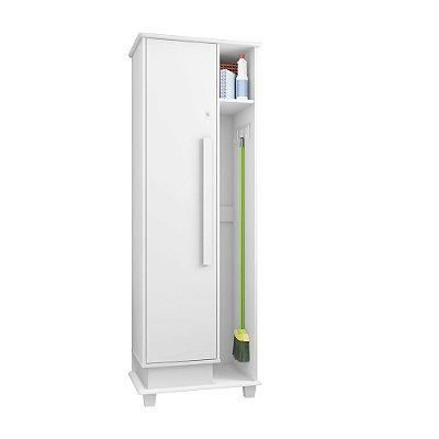 armario de lavanderia e dispensa multiuso com chave e suporte para vassouras e rodos