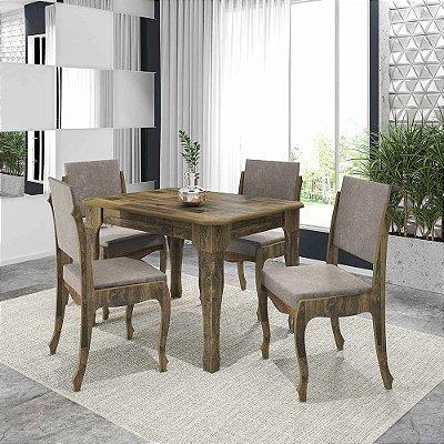 jogo mesa de jantar mais 4 cadeiras estofadas 120 x 90 cm estilo luis XV cor marrom rústico