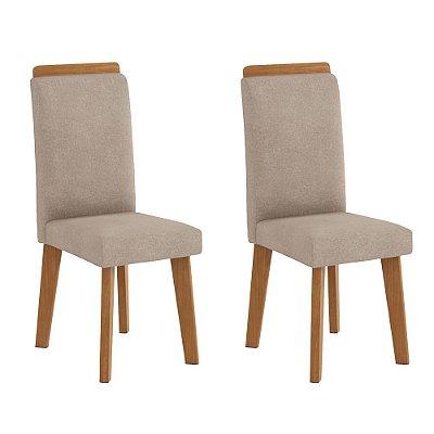 kit 2 cadeiras de jantar estofadas com pé palito de madeira
