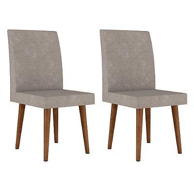 kit 2 cadeiras de jantar estofadas com pé palito de madeira 102 cm