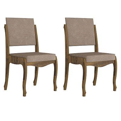 kit 2 cadeiras de jantar estofadas estilo luis XV