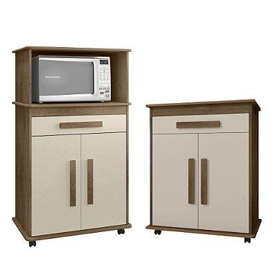 kit armarios de cozinha com armario de microondas + armario baixo com gaveta