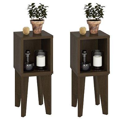 kit 2 mesa lateral retro altura 68 cm largura 28 cm pés palito