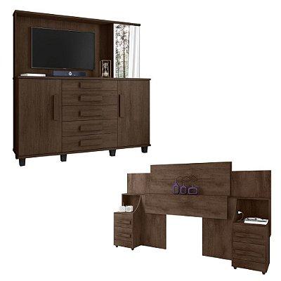 kit cabeceira casal queen ou king com 2 mesas de cabeceira mais comoda grande com espelho e painel