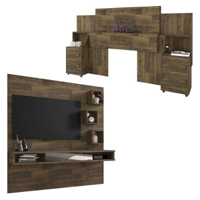 kit cabeceira casal queen ou king com 2 mesas de cabeceira mais painel de TV para quarto