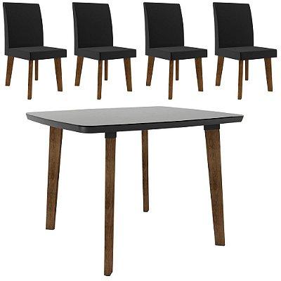 kit mesa de jantar ou cozinha mais 4 cadeiras estofadas pé palito madeira 120 x 90 cm
