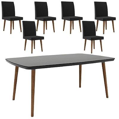 conjunto mesa de jantar mais 6 cadeiras estofadas pé palito madeira 170 x 90 cm