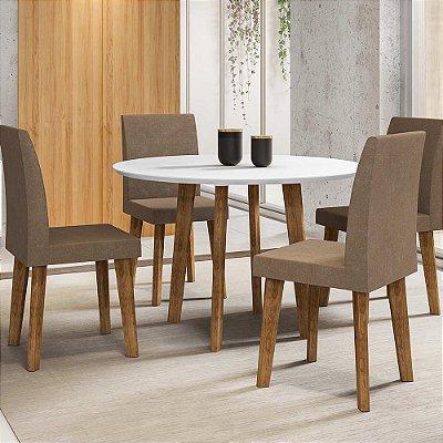 kit mesa de cozinha ou jantar redonda mais 4 cadeiras pé palito diâmetro 108 cm