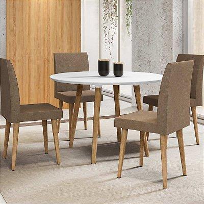 conjunto mesa de cozinha ou jantar redonda mais 4 cadeiras pé palito diâmetro 108 cm