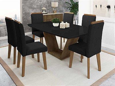 kit mesa de jantar mais 6 cadeiras estofadas pé palito 170 x 90 cm