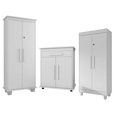 kit 3 armarios de escritorio com chave 2 portas e gaveta
